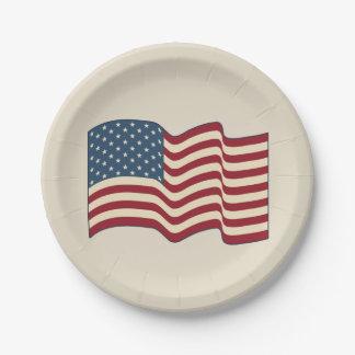 素朴な振る米国旗の紙皿 ペーパープレート