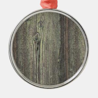 素朴な暗闇によって風化させる木製の背景 メタルオーナメント
