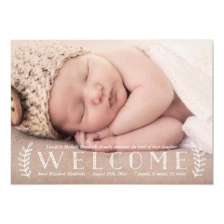 素朴な月桂樹 の写真の誕生の発表 カード