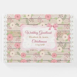 素朴な木および花のピンクおよびタンの結婚式の本 ゲストブック