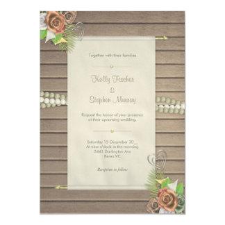 素朴な木および花柄の結婚式招待状 カード