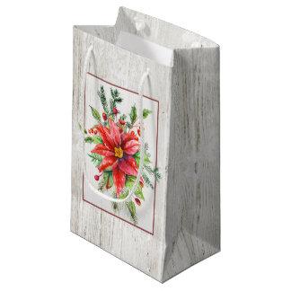 素朴な木のお祝いの水彩画のポインセチア スモールペーパーバッグ