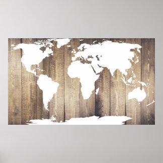 素朴な木の板の白い世界地図 ポスター