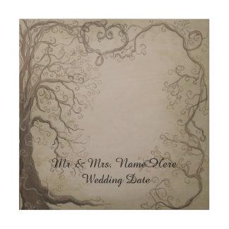 素朴な木の結婚式のゲストブックの木およびつる植物 ウッドウォールアート