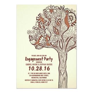 素朴な木の花柄の枝婚約パーティ カード
