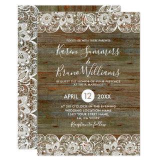 素朴な木及び白いレースフレームの結婚式招待状 カード
