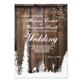 素朴な木製のシカの松の木の結婚式招待状 カード