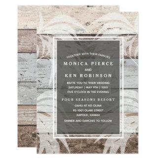 素朴な木製のビーチのヤシの木の結婚式の招待 カード