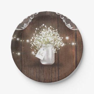 素朴な木製のメーソンジャーのベビーの呼吸納屋の結婚式 ペーパープレート