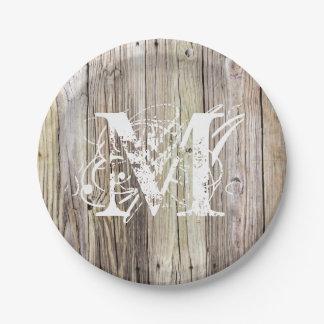 素朴な木製のモノグラムのな紙皿 ペーパープレート