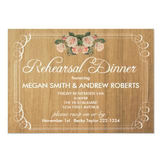 素朴な木製のリハーサルの夕食の招待状 カード