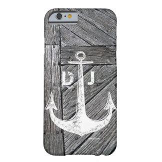 素朴な木製のヴィンテージのいかりの航海のなモノグラム BARELY THERE iPhone 6 ケース
