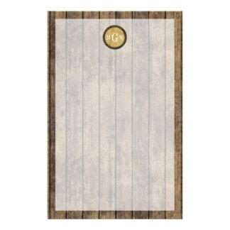 素朴な木製の一見の板#1 Steampunk 3のモノグラム 便箋