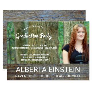 素朴な木製の写真の卒業パーティー 12.7 X 17.8 インビテーションカード