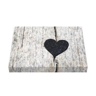 素朴な木製の写真の黒いグリッターのハート キャンバスプリント