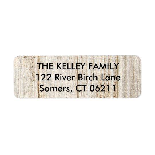 素朴な木製の差出人住所ラベル 返信用宛名ラベル