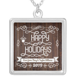 素朴な木製の幸せな休日のクリスマスのタイポグラフィ シルバープレートネックレス