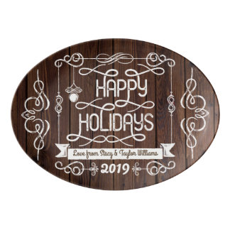 素朴な木製の幸せな休日のクリスマスのタイポグラフィ 磁器大皿