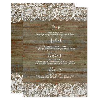 素朴な木製の白いレースの結婚式メニュー カード