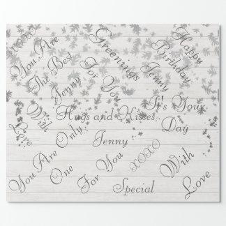 素朴な木製の白い銀製の紙吹雪の葉 ラッピングペーパー