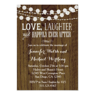 素朴な木製の結婚の結婚式のパーティの招待状2 12.7 X 17.8 インビテーションカード
