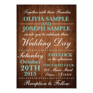 素朴な木製の結婚式招待状 カード