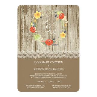 素朴な木製の花のリースの結婚式招待状 カード
