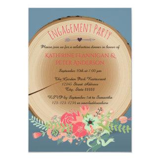 素朴な木製の花束-婚約パーティの招待状 カード