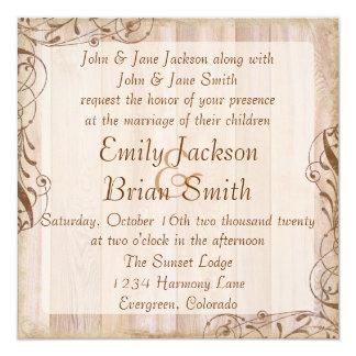 素朴な木製の茶色のテーマの結婚式招待状 カード