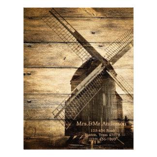 素朴な木製の西部の風車の納屋の結婚式 レターヘッド