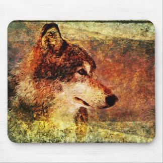 素朴な材木オオカミのマウスパッド マウスパッド