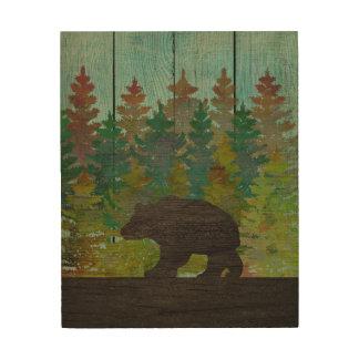 """素朴な森林およびくま、8"""" x10""""木製の壁の芸術 ウッドウォールアート"""