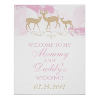 素朴な森林結婚式の歓迎 ポスター