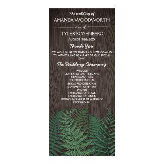 素朴な植物のシダの森林結婚式プログラム カスタムラックカード