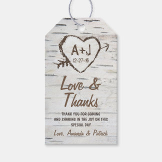 素朴な樺の木の吠え声の結婚式は付きます感謝していしています ギフトタグパック