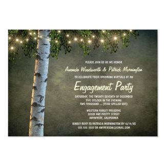 素朴な樺の木の婚約パーティの招待状 カード