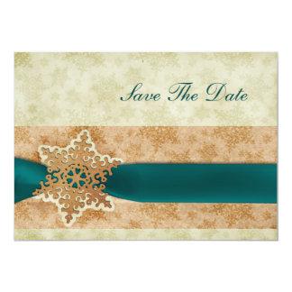 素朴な水の雪片のセーブ・ザ・デート案内 カード