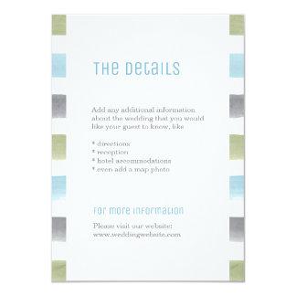 素朴な水彩画のストライプなビーチ結婚式の詳細 カード