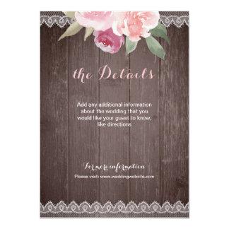素朴な水彩画の花のレースの結婚式の詳細 カード