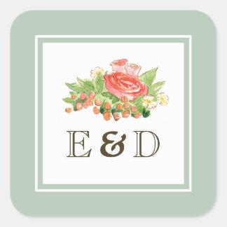 素朴な水彩画の花の絵画の結婚式用シール スクエアシール