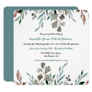 素朴な水彩画はフレームの結婚式招待状を去ります カード