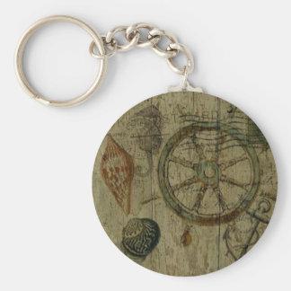 素朴な沿岸流木の航海のな舵輪の車輪 キーホルダー