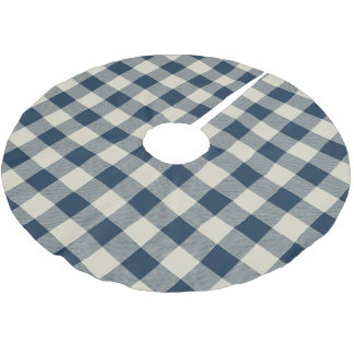 素朴な海軍およびベージュバッファローの点検の格子縞 ブラッシュドポリエステルツリースカート