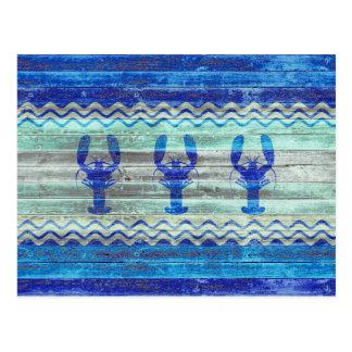 素朴な濃紺の沿岸ロブスター ポストカード