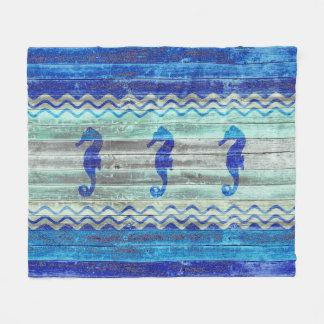 素朴な濃紺の沿岸装飾のタツノオトシゴ フリースブランケット