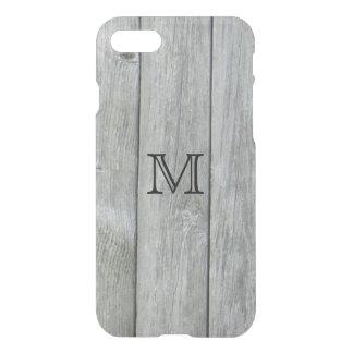 素朴な灰色の木製パターンカスタムのモノグラム iPhone 7ケース