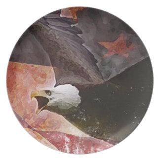 素朴な白頭鷲の愛国心が強いディナー用大皿 プレート