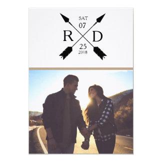 素朴な矢|の保存日付|の写真の結婚式 12.7 X 17.8 インビテーションカード