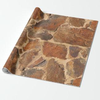 素朴な石塀の構造の地質学の暖かい白熱 ラッピングペーパー