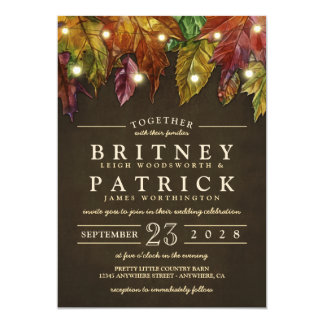 素朴な秋の紅葉の結婚式招待状 カード